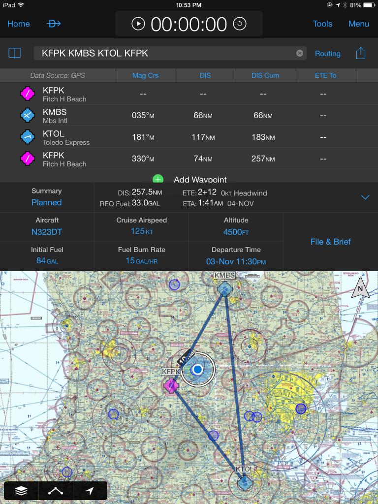 Garmin-pilot-KTOL-KMBS-KFPK